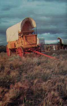 Pioneer covered wagon on the Oregon or California Trail